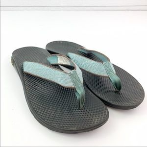 Chaco EcoTread Flip Flop Blue Brown Sandals Size 9